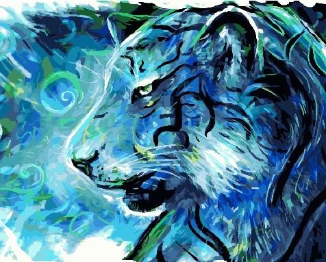 Картина по номерам 40x50 Холодный грозный тигр