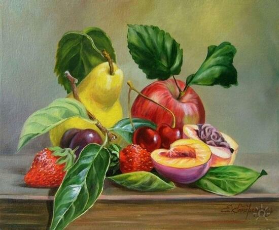 Картина по номерам 40x50 Фруктово-ягодный натюрморт