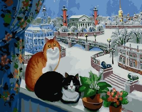 Картина по номерам 40x50 Коты на подоконнике с видом на стрелку Васильевского острова