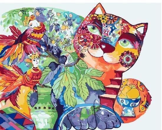 Картина по номерам 40x50 Кот и птицы