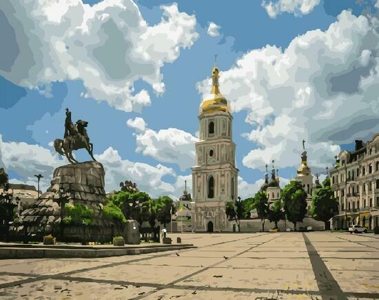 Картина по номерам 40x50 Памятник Богдану Хмельницкому. Киев