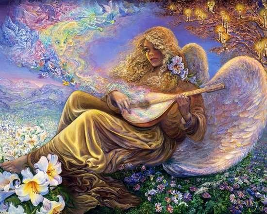 Картина по номерам 40x50 Ангел играет на кобзе