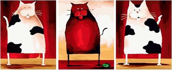 Триптих по номерам 40x50x3 Дружественные коты