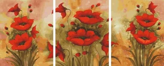 Триптих по номерам 40x50x3 Маковое блаженство
