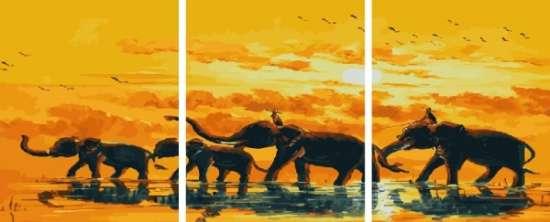 Триптих по номерам 40x50x3 Радостные слоны