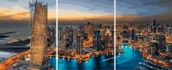 Триптих по номерам 40x50x3 Вид на Манхэттен с высоты птичьего полета
