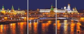 Триптих по номерам 40x50x3 Московский пейзаж