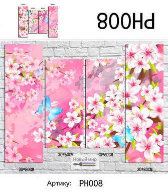 Модульная картина Бабочки на фоне цветущей сакуры
