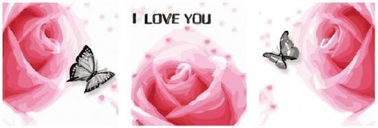 Триптих по номерам 40x50x3 Розовые розы и черные бабочки