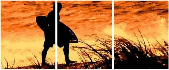 Триптих по номерам 40x50x3 Серфинг на закате