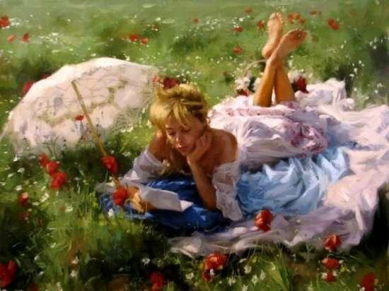 Картина по номерам 40x50 Девушка отдыхает на поляне