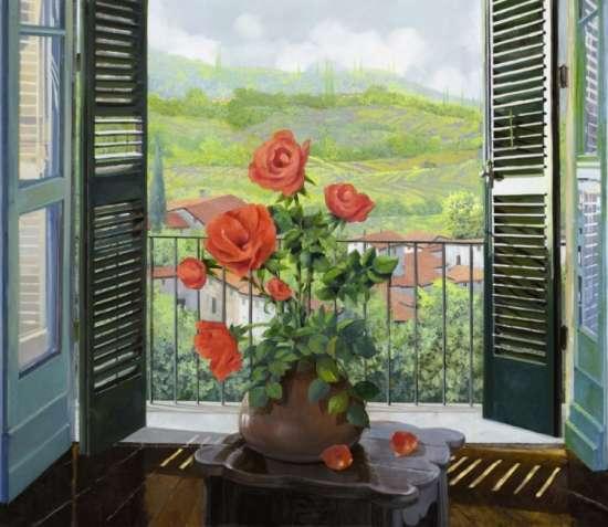Картина по номерам 40x50 Красные розы на окне