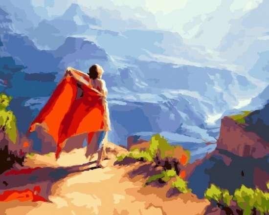 Картина по номерам 40x50 Девушка с оранжевой шалью на вершине горы