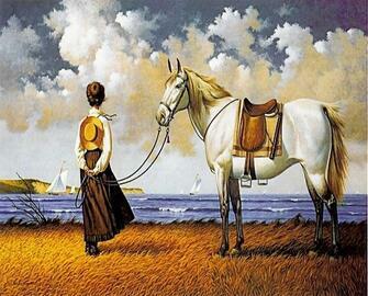 Картина по номерам 40x50 Странница с лошадью