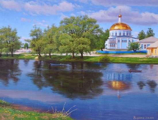 Картина по номерам 40x50 Храм у озера