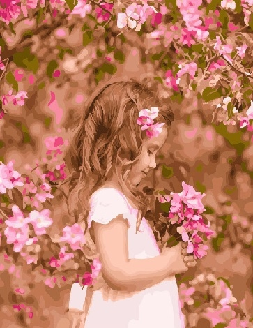 Картина по номерам 40x50 Девочка в саду с розовыми цветами
