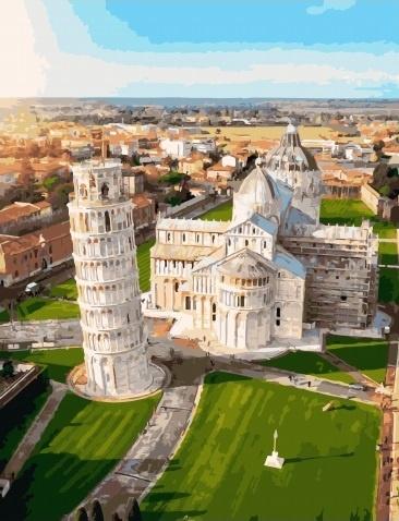 Картина по номерам 40x50 Пизанская башня и собор