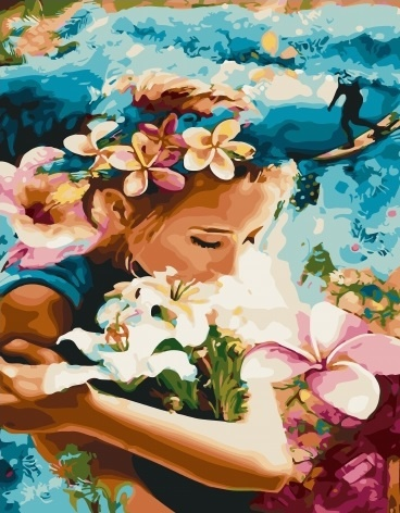 Картина по номерам 40x50 Девушка с букетом белых лилий