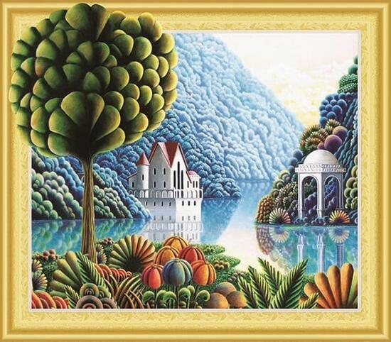Алмазная мозаика 5D 40x50 Одинокое дерево у горного озера