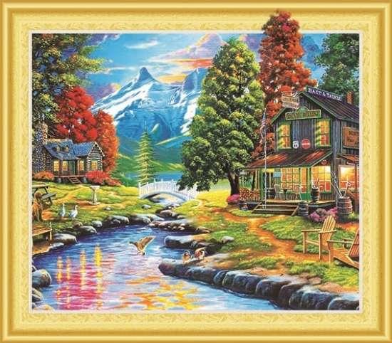 Алмазная мозаика 5D 40x50 Горная деревушка у реки