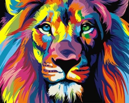 Картина по номерам 40x50 Цветной портрет льва