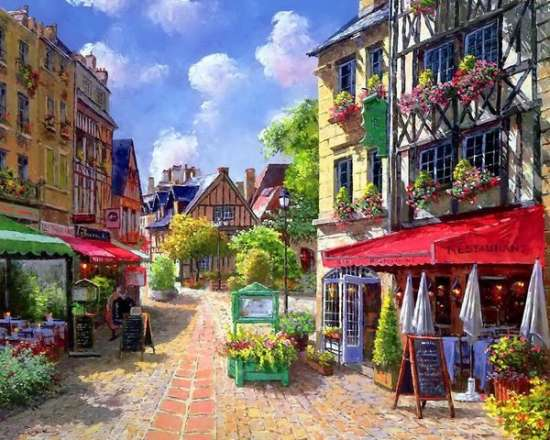 Картина по номерам 40x50 Город залитый солнечным цветом