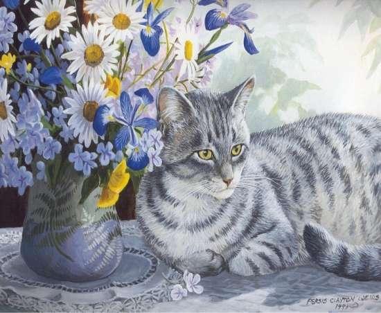 Картина по номерам 40x50 Полосатый кот под букетом
