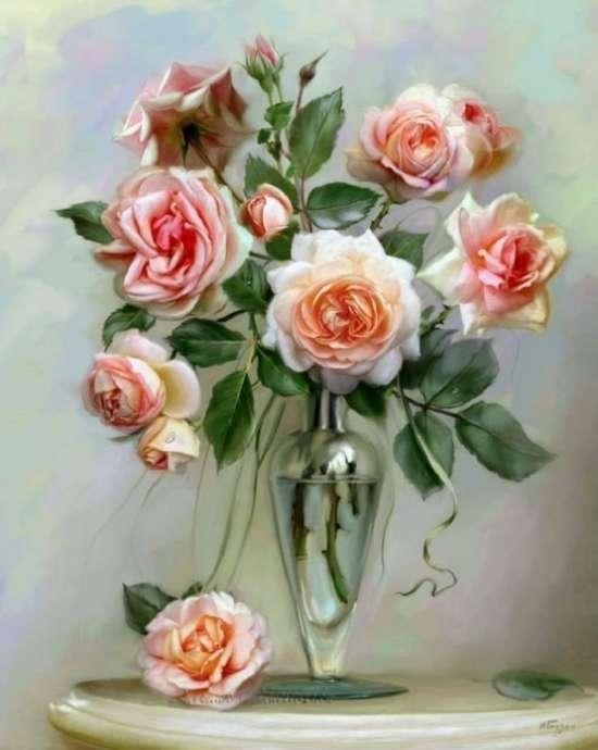Картина по номерам 40x50 Букет роскошных роз в стеклянной вазе