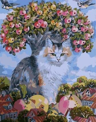 Купить кот и синички среди домиков и яблок за 770 руб. в Москве