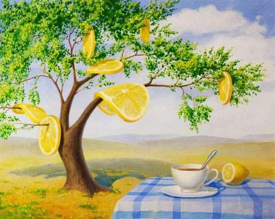 Картина по номерам 40x50 Чай с лимоном под деревом