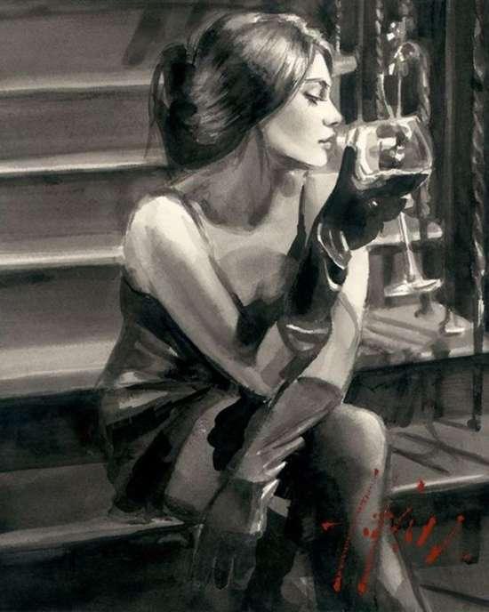 Картина по номерам 40x50 Девышка с вином на ступенях