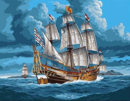 Картина по номерам 40x50 Морской флот недалеко от брега