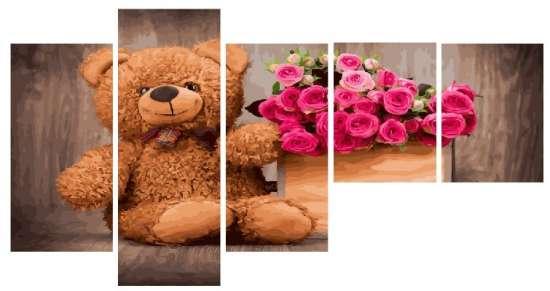 Модульное рисование по номерам Мягкий мишка и красочный букет роз
