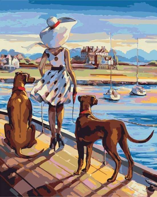 Картина по номерам 40x50 Нежная девушка на берегу с собаками