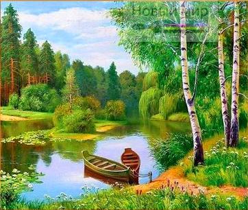 Раскраска-алмазка по номерам Две лодки на лесной реке