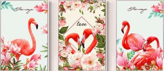 Алмазная мозаика триптих 40x50 Розовые фламинго среди цветов