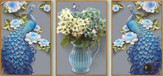 Алмазная мозаика триптих 40x50 Павлины и ваза с цветами