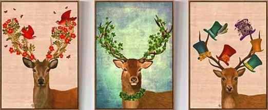Алмазная мозаика триптих 40x50 Олени с украшенными рогами