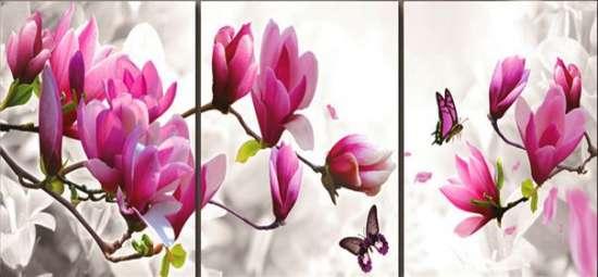 Алмазная мозаика триптих 40x50 Цветы магнолии и бабочка