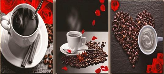 Алмазная мозаика триптих 40x50 Кофейные натюрморты