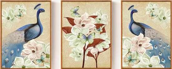Алмазная мозаика триптих 40x50 Павлины, бабочки и большие цветы