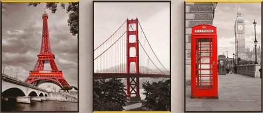 Алмазная мозаика триптих 40x50 Париж, Нью-Йорк и Лондон