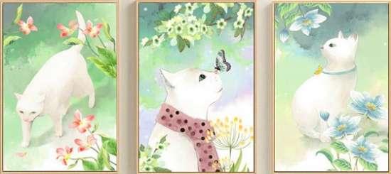 Алмазная мозаика триптих 40x50 Белая кошка в весеннем саду