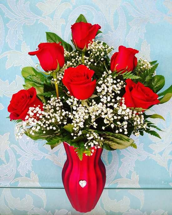 Алмазная мозаика 30x40 Букет алых роз в красной вазе