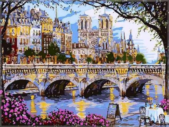 Картина по номерам 40x50 Широкий мост через реку