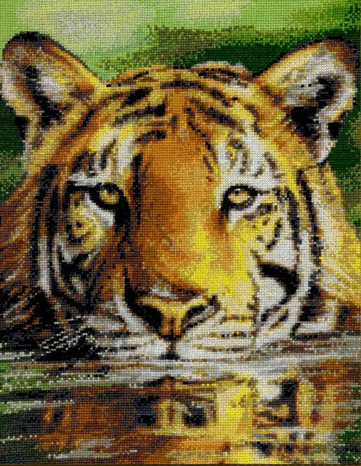 Алмазная мозаика 40x50 Грозный тигр в озере