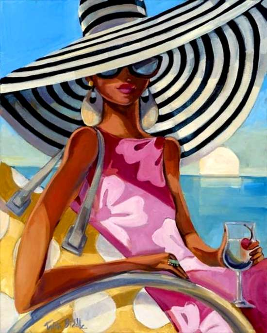 Алмазная мозаика 40x50 Девушка в шляпе на летнем пляже