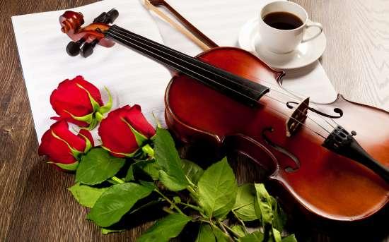 Алмазная мозаика 30x40 Скрипка, розы и кофе