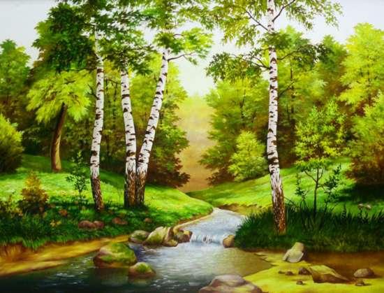 Алмазная мозаика 40x50 Река в березовой роще