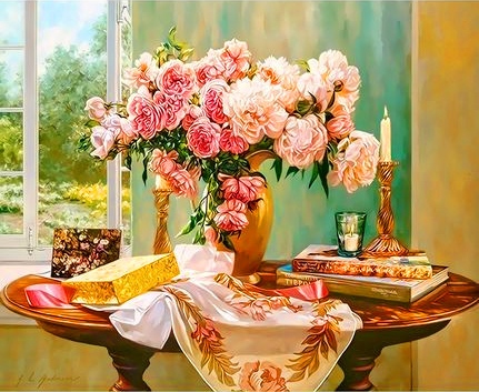 Картина по номерам 50x65 Розы и пионы в букете